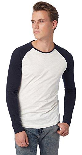 Tom Tailor Denim Herren Langarmshirt weiß/navy