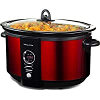 Andrew James 6.5 Litre Premium Digital Red Slow Cooker with Tempered Glass Lid, Removable Ceramic Inner Bowl And Three Temperature Settings, Includes 2 Year Manufacturer's Warranty