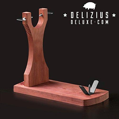 Delizius Deluxe Elegance Soporte Jamonero, Madera, Marrón, 38 x 32 x 16,5 cm