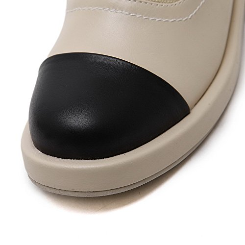 AgooLar Femme Couleurs Mélangées Matière Mélangee à Talon Bas Lacet Rond Chaussures Légeres Abricot