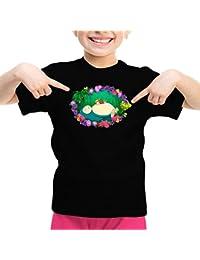 Camiseta de niña Videojuego - Parodia de Snorlax y Misty de Pokemon X Totoro y Mei (875)