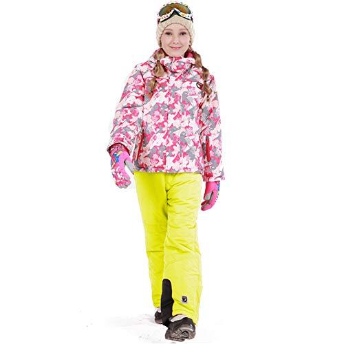 LPATTERN Traje de Esquí para Niños/Niñas Traje Conjunto de Nieve Impermeable para Deportes de Invierno, Rosa+Amarillo B, Talla:116-122/5-6 años