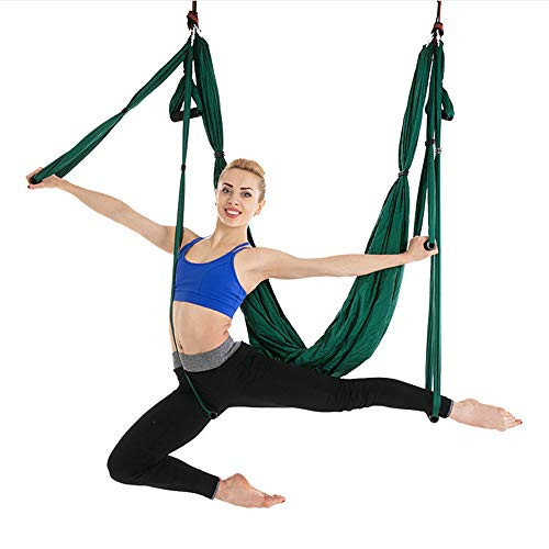 Yoga Belts Dynamic 5m X 2.8m Anti-gravity Yoga Hammock Fabric Yoga Flying Swing Yoga Hammock Practicing Inversion Exercise Strap Traction Device Sports & Entertainment