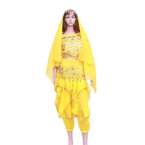 FENICAL 5 Teile/Satz Indischen Tanz Bauchtanz Kurzarm Rotary Hosen Leistung Set (Gelb, Tops + Pants + Taille Kette + Headwear Schleier + Halskette)