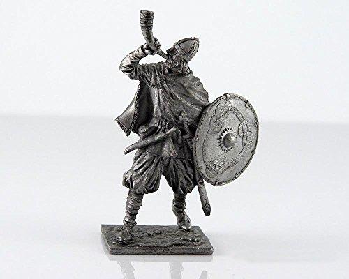 Vikingo con cuerno, 9-10siglo Metal Escultura. Colección 54mm (escala 1/32) figura decorativa en miniatura. Lata soldados de juguete