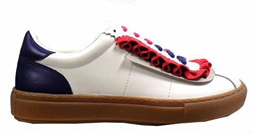 Scarpe Donna PINKO GALLESE 1 Pelle con rouches Sneakers Primavera Estate 2017 Bianco rosso 39