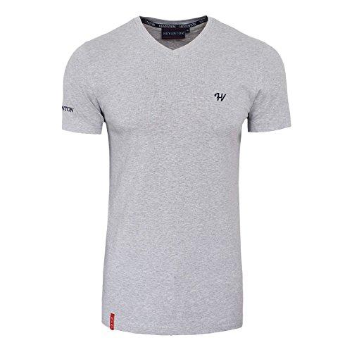 Herren T-Shirt V-Ausschnitt Kurzarm Slim-Fit - in Weiß, Schwarz und Grau - S bis XXL Hellgrau