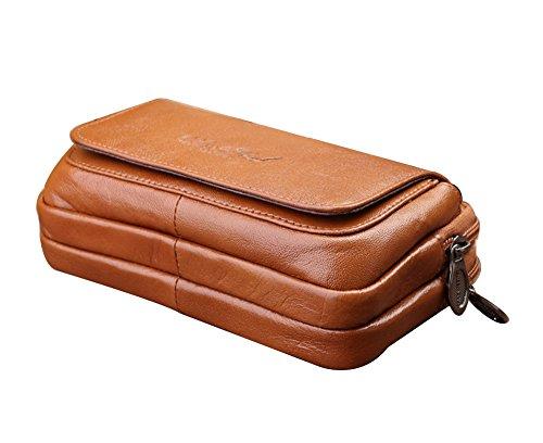 Genda 2Archer Kleine Leder Geld Gürteltasche Reise Handy Sicherheit Tasche (Kaffee) Braun