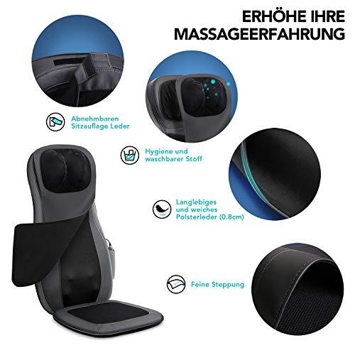 Naipo Massage du Dos Coussin Siège de Massage Fauteuil Massant Shiatsu avec Fonction Chauffante pour Entier Cou Nuque Dos