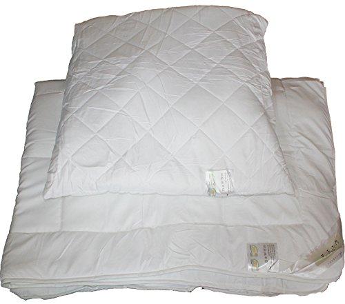 2-tlg. Betten Set, Übergröße: Bettdecke 155x220 + Kopfkissen 80x80, weiss, gesteppt, Hohlfaserfüllung, ÖKOTEX