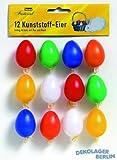 12 Kunststoff Ostereier bunt 40 mm