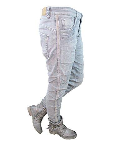 Stretch Baggy Boyfriend Jeans 4 Knöpfe offene Knopfleiste seitliche Streifen große Größen (XL-42, grey) (4-knopf-strickjacke)
