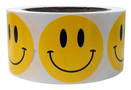 Tile & Sticker Smiley Face Happy Stickers 2 Inch Round Circle Teacher Labels 500 Total Yellow by Tile & Sticker