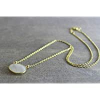 Moonstone Free Form Gemstone Necklace Gold Plated Sterling Silver 17 and 18 inches
