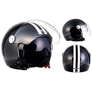 "Armor · AV-63 ""Fun Shiny Black"" (black) · Open Face Helmet · Pilot Motorbike Jet Retro Motorcycle Scooter · ECE certified · Separate Visors · Click-n-Secure Clip · Carrier Bag · XL (61-62cm)"