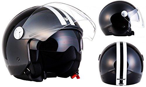 "ARMOR HELMETS® AV-63 ""Fun Shiny Black"" · Jet-Helm · Motorrad-Helm Roller-Helm Scooter-Helm Bobber Mofa-Helm Chopper Retro Cruiser Vintage Pilot · ECE Sonnenvisier Schnellverschluss Tasche S (55-56cm)"