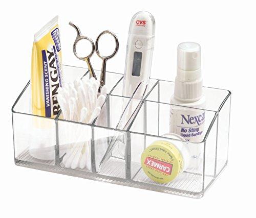iDesign Medikamentenbox für Bad und Medizinschrank, kleine Medizinbox aus Kunststoff, übersichtliche Medikamenten Aufbewahrung mit 7 Fächern, durchsichtig
