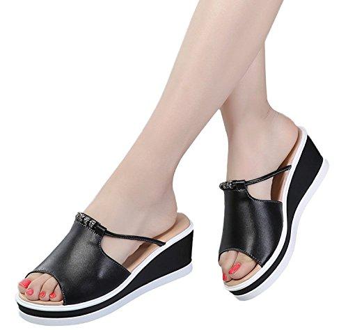 9e42c7c38a04e Minetom Tongs Noir Sandales De Compensées Mules Claquettes Chaussures  Confortable Plage Femme Fille Été HTqHXr