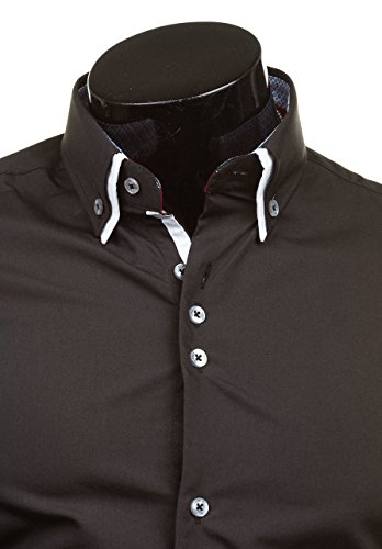 BOLF Langarm Herrenhemd Hemd Figurbetont Freizeit Classic Men Slim Fit 6898 Schwarz