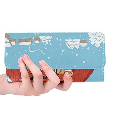 Einzigartige benutzerdefinierte niedlichen pelzigen Bären russischen Winter Shapka Frauen Trifold Wallet Lange Geldbörse Kreditkarteninhaber Fall Handtasche (Pelzigen Bären)