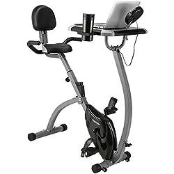 Finether Vélo d'Appartement Pliant Vélo de Fitness Gym Bike Vélo d'exercice avec Selle Ajustable de 77 à 90,5 cm, Résistance et Sangle Réglable, LCD Écran, Moniteur avec d'Ordinateur Table, Gris