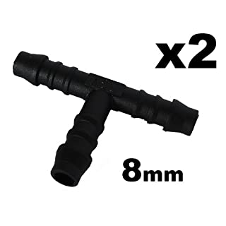 2x 8mm Hose Tube Pipe 3-way T-Piece Splitter / Connector for Washer / Heater Hose, Tube or Pipe - FREE FIRST CLASS UK POSTAGE!