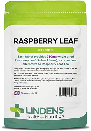 Lindens Raspberry Leaf 750mg Tablets | 84 Pack | Suitable for Use After The Third Trimester of Pregnancy & Beyond Birth and Tablets are More Convenient Than Tea