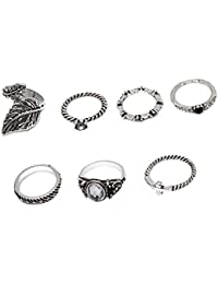 Young & Forever Valentine Gifts Special Boho Gypsy Vintage Style Silver Plated Midi Finger Multicolour Rings Set...