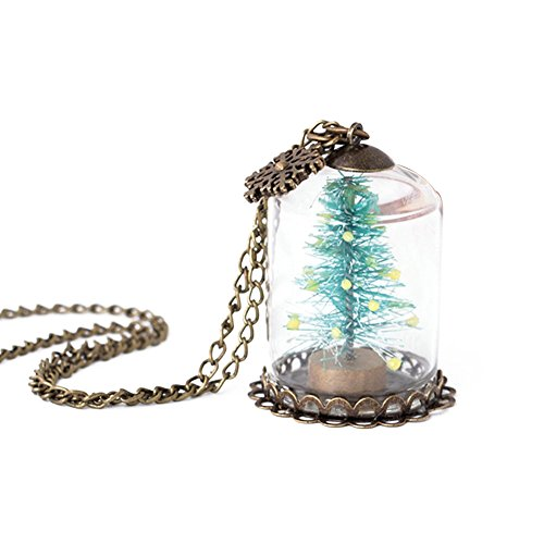 Handgefertigt Luminous Schneeflocke Weihnachtsbaum Glas Flasche Kette Halskette Xmas Geschenk -