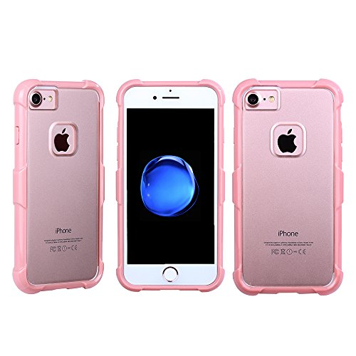 """iphone 7 Hülle ,Aohro Flexible TPU Gel Bumper&[Crystal Clear] Hart PC Back Plate Shock-absorbent Scratch-resistant Handyhülle Schutzhülle für iphone 7 4.7"""" Case Cover (Rose gold) Rose gold"""