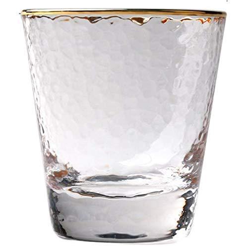 Gwill Trinkgläser 300ml -Transparent Hammer Holzmaserung Gold Rand Glastasse Whiskey Glas Wein Spirituosen Glas Dekorative Tasse aus Durable bleifreies Glas (Gold umrandeten) (Gold Rand Gläser)
