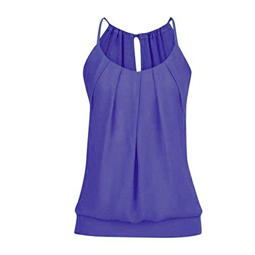 Zegeey Damen Sommer Tank top T-Shirt Ohne Arm Shirt Rundhals Ausschnitt Einfarbig Off Shoulder Lässige Stretch Falten Bluse Tops Oberteil Weste Basic top (Lila,M) -