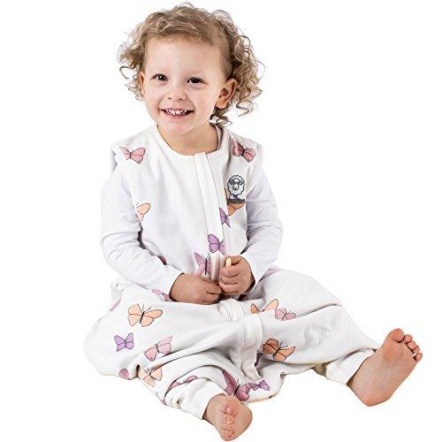Woolino Baby Schlafsack mit Füßen öffnen Merino Wolle Walker 18-36 Monate Schmetterling - Wolle Walker