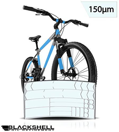 Blackshell Fahrrad Schutzfolie Aufkleber Rahmenschutz für z.B. BMX, MTB, Rennrad oder E-Bike - 24-teiliges, Transparentes Steinschlagschutz-Set