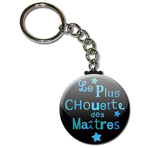 Le Plus Chouette des Maîtres Porte Clés Chaînette 3,8 centimètres Idée Cadeau Accessoire Fin d'année Scolaire École Noël Remerciement