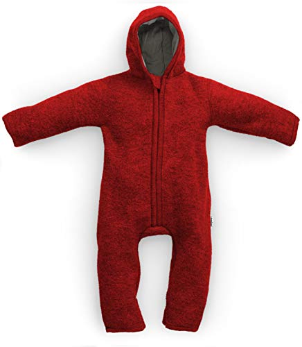 Germany WALKOVERALL   Baby Wollwalk-Overalls aus Bio Natur Schurwolle mit Reißverschluss   Walk Wolle Woll-Anzug für Kleinkind und Baby   Mohnrot Gr. 62/68 ()