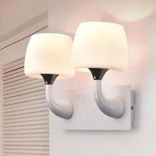 Métal Champignons Simple Lampe de Mur Blanc Verre Abat-Jour LED Chambre Lampe de Chevet Couloir Salle de Bains Lampe, Double Head