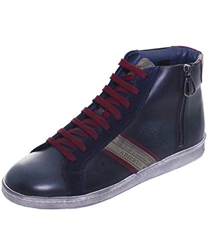 La Martina Uomo Sneaker in pelle High-Top ASCOT 43 Blu Marino