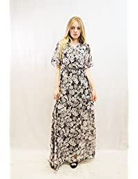 4a42a3c5094f Lady Floral/Leopard Print Chiffon Cross Front Cape Sleeves Wrap Maxi Dress  Holiday