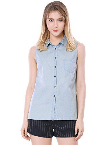 Allegra K Women's Single Breasted Sleeveless Shirt
