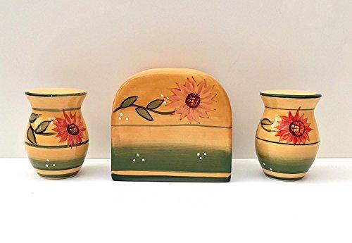Toskana Küche gelb Country Sonnenblume, handbemalt Keramik Serviettenhalter, Salz & Pfeffer Shaker Set, 82928-1von ACK (Küche Kanister Chef)