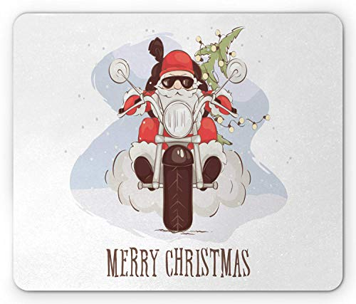WYICPLO Merry Christmas Mouse Pad, Cool Santa with Sunglasses Riding a Chopper Bike with Xmas Tree and Sack, Standard Size Rectangle Non-Slip Rubber Mousepad, Multicolor -