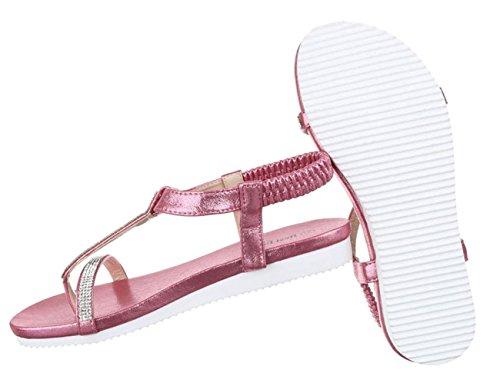 Damen Sandalen Schuhe Sommerschuhe Strandschuhe Zehentrenner Schwarz Pink 36 37 38 39 40 41 Pink