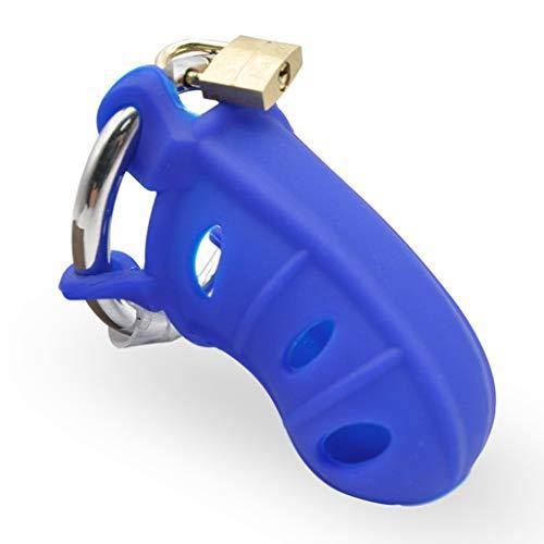 LRWTY Blau Einfache Herren Silikon Keuschheitsschloss Einstellbare Edelstahlspange Spezielle Spielzeug T - Shirts MIT ( Size : S:38mm 41mm 44mm ) (Blau Persönliche Massagegerät)