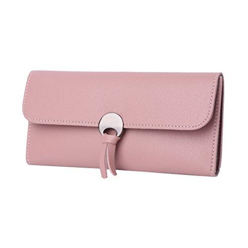 Dairyshop Borsa donna Portafoglio in pelle Donna Faux Long Designer Carte di Credito Holder Organizer (rosa) rosa
