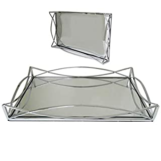 New Decorative Silver Metal Rectangular Serving/Dressing Table Tray with Mirror Glass Base (AR5 Silver)