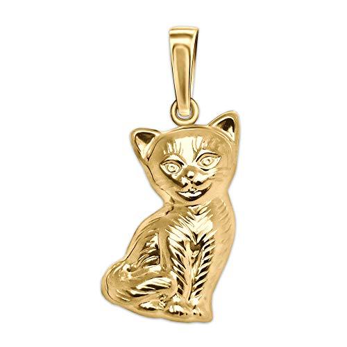 CLEVER SCHMUCK Goldener Damen Anhänger Katze sitzend, beidseitig plastische Form, Fell als Strichmuster glänzend 333 Gold 8 Karat
