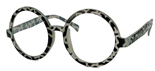 XL Fashion Brille große runde Nerdbrille im Lennon Style L33 (Graues Fleckvieh) (Kleider Johns)