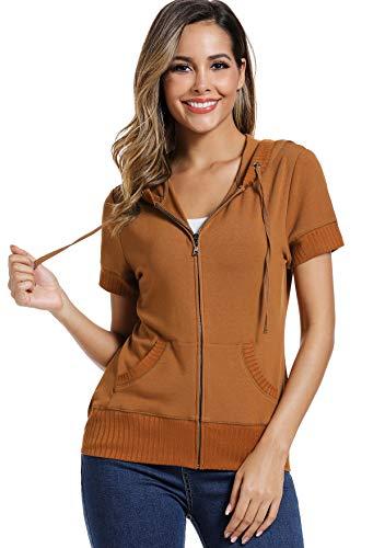 501c98def MISS MOLY Sudadera con Capucha para Mujer Suéter Tops Blusas de Manga Corta  Mujer Casual Hoodie Camello X-Large