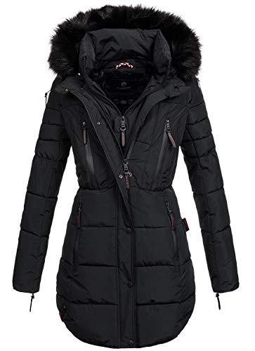 Marikoo warme Damen Winter Jacke Winterjacke Parka Stepp Mantel lang B401 [B401-Moonshine-Schwarz-Gr.L]